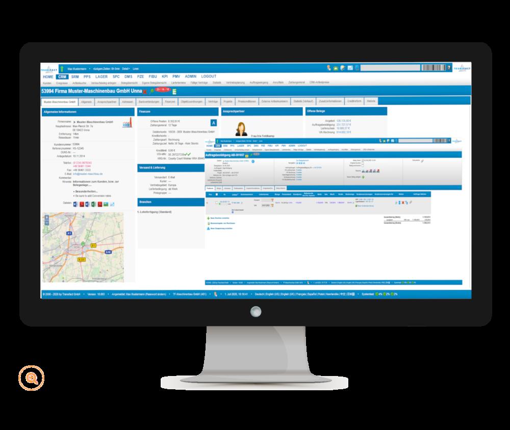 Transfact CRM - Bildschirm Kunden und Aufträge