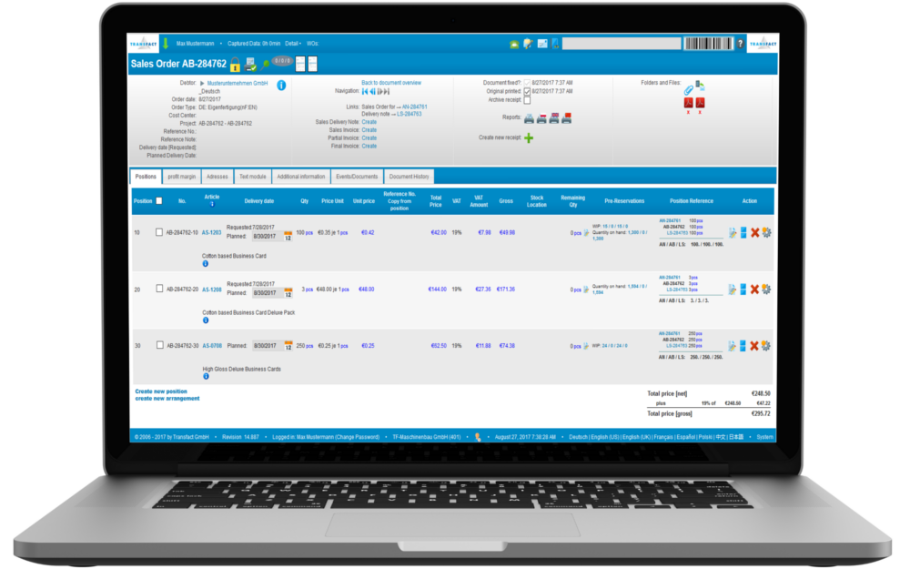 Transfact CRM Sales Order Screen