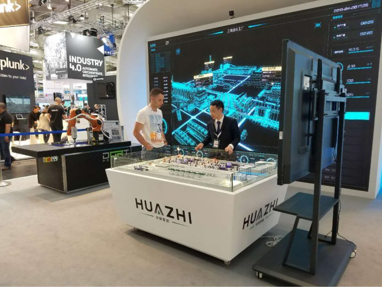 HUAZHI booth with 3D factory simulation