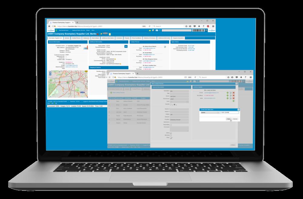 Transfact SRM Supplier Master Data Screens