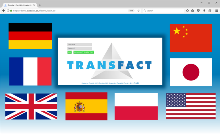 Transfact Login Page with Language Flags